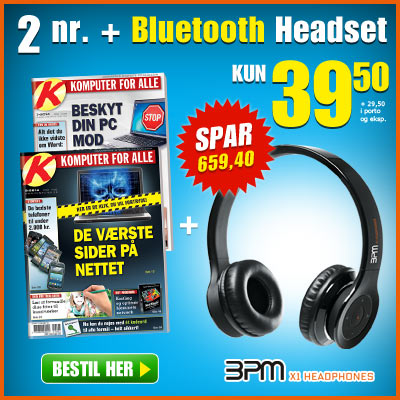 Komputer for alle + BPM X1 bluetooth headset hovedtelefoner.