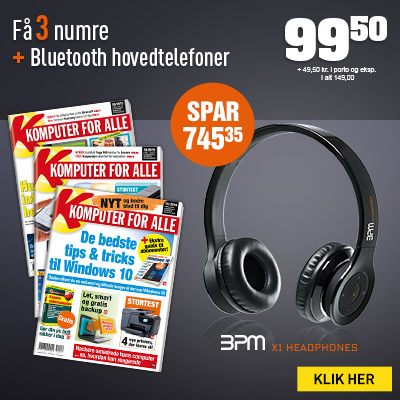 Komputer for alle + Bluetooth hovedtelefoner.